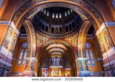 Interiors Of Sainte-therese Basilica, Lisieux, France