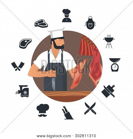 Vector Illustration Logo For Butcher Shop With Bearded Butchers At Work With A Book And A Knife In T