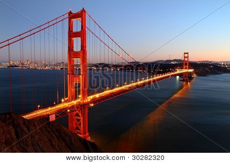 Iconic Golden Gate bridge in San Francisco, California