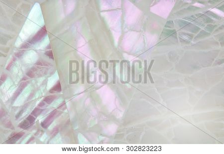 Abstract Mother Of Pearl Background With Lilac, Mauve And Aqua Shimmering Mosaic Inlay - Top Blurred