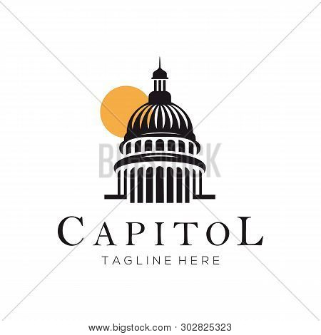 Capitol Building Construction Logo And Icon Design Suitable For Your Business, Company Or Personal B