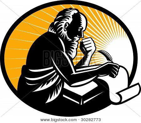 Saint Jerome Writing Scroll Retro Woodcut