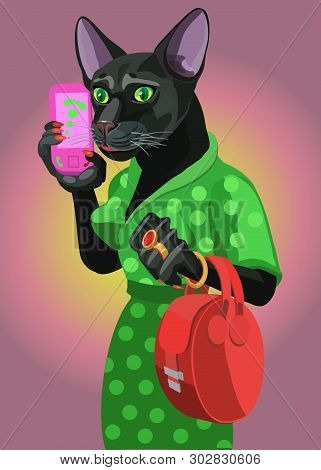 Cat Lady Talking On A Mobile Phone, She Is Confident, She Is Dressed In A Fashionable Dress She Has