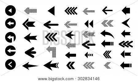 Arrow Left  Icons Isolated On White Background, Set Of Black Vector Arrows. Arrow Icon. Arrow Vector