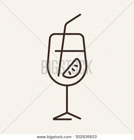Aperol Spritz Line Icon. Glass, Flute, Straw, Lime, Cocktail, Aperitif. Bar Concept. Vector Illustra