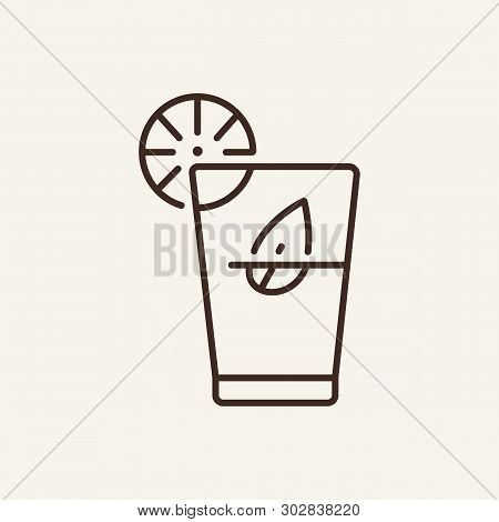 Tequila Shots Line Icon. Glass, Lime, Leaf. Bar Concept. Vector Illustration Can Be Used For Topics
