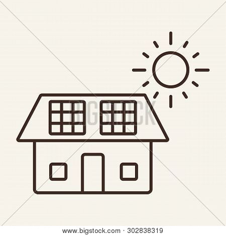 Solar Panel Line Icon. Sun, House, Photovoltaic Module. Alternative Energy Concept. Can Be Used For