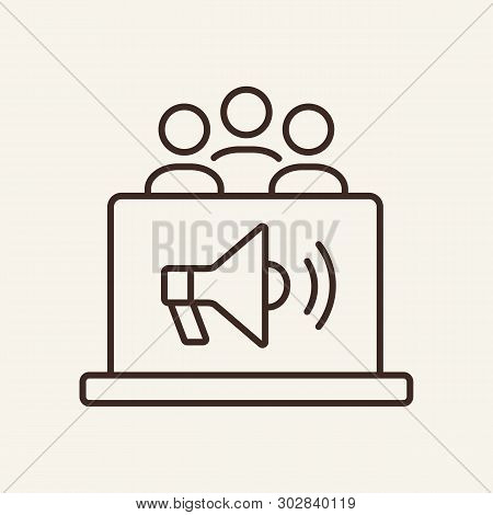 Marketing Research Line Icon. Megaphone On Laptop, Team, Workgroup, Target, Audience. Marketing Conc