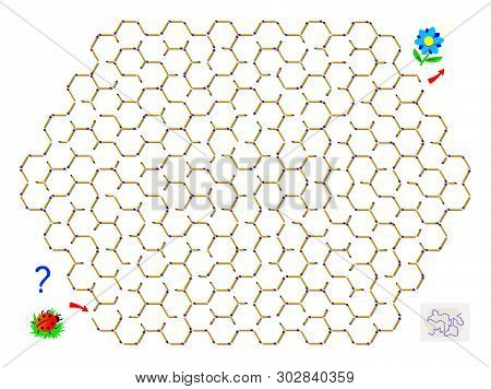 Logic Puzzle Game With Labyrinth For Children. Help The Ladybird Find The Way Between Matchsticks Ti
