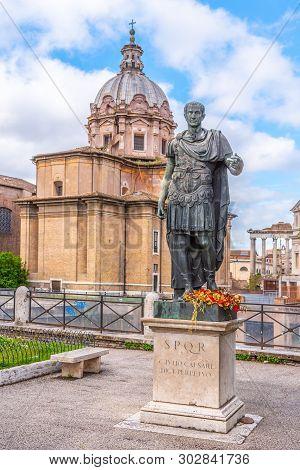 Statue Of Roman Emperor Julius Caesar At Roman Forum, Rome, Italy