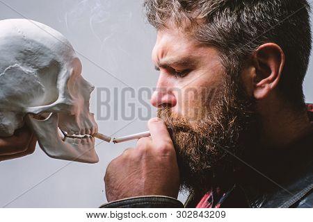 Habit To Smoke Tobacco Bring Harm To Your Body. Smoking Cause Health Damage And Death. Man Smoking C