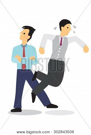 Businessman Sabotage His Colleague. Concept Of Corporate Bully Or Bad Office Ethics. Isolated Flat V