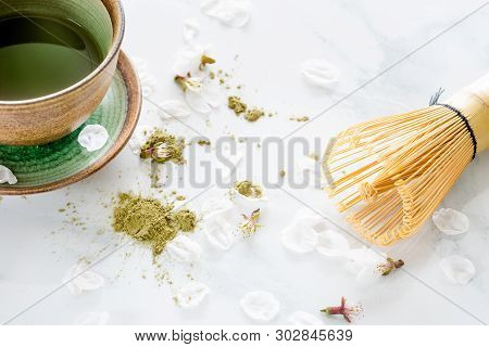 Green Tea Matcha In A Bowl On Table