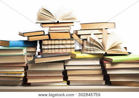 Stack Of Books Isolated On White Background. Education Concept. Back To School.