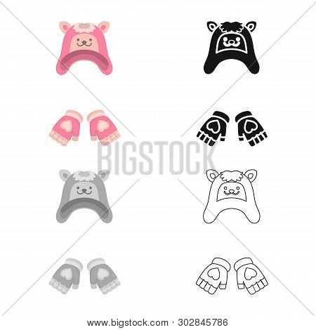 Vector Design Of Hat And Gloves  Icon. Collection Of Hat And Pompom Stock Vector Illustration.