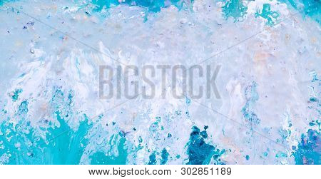 Abstract Acrylic Gouache Paint Background. White Blue Color Blend Similar To Waterfall Whitecaps. Ar