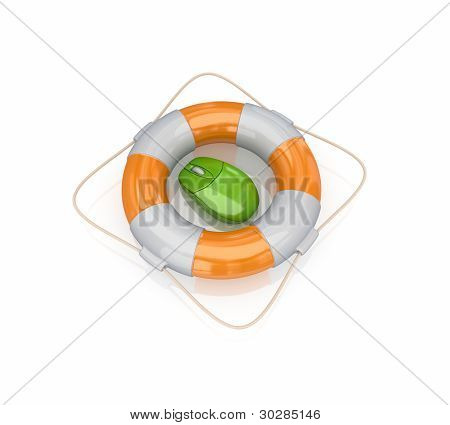 Green PC mouse in a lifebuoy.