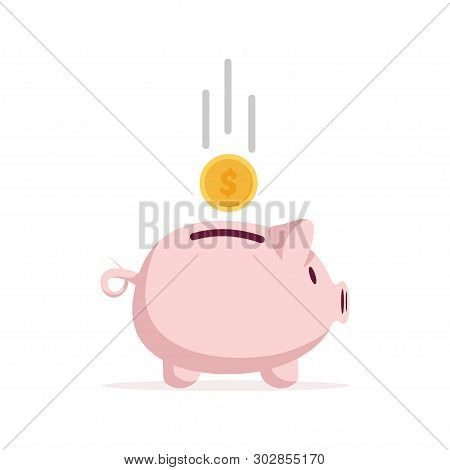 Piggy Bank In A Flat Style. Piggy Bank With Coin.