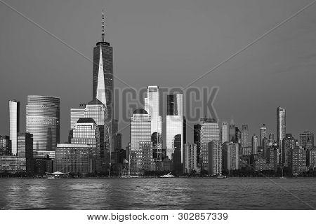 New York City Black And White Panorama At Dusk, Usa.
