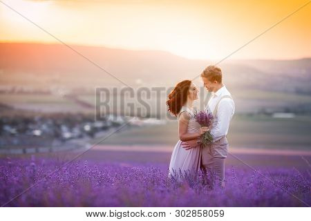 Young Couple In Love Bride And Groom, Wedding Day In Summer. Enjoy A Moment Of Happiness And Love In