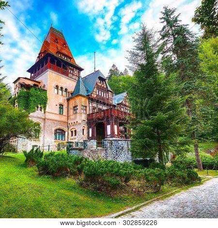 Pelisor castle summer residence in Sinaia, part of the complex as Peles castle. Sinaia, Prahova County, Romania poster