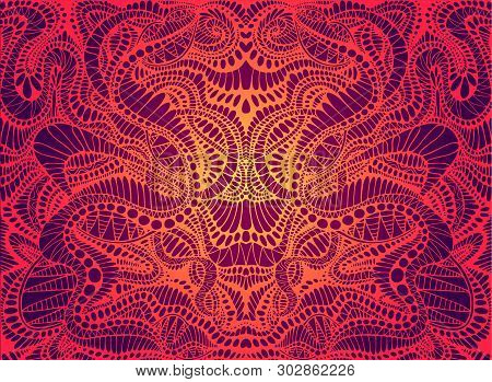 Psychedelic Trippy Colorful Fractal Mandala, Gradient Bright Red, Orange, Yellow Colors Outline, On