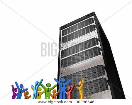 Huge server and 3d small people.Isolated on white background.3d rendered. poster
