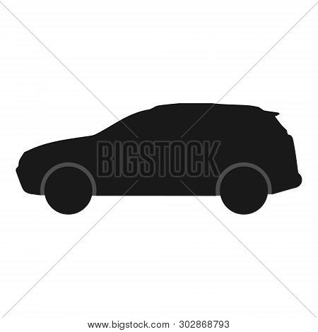 Car Vector Icon. Black Silhouette Of Crossover
