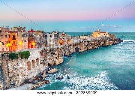 Vieste - Beautiful Coastal Town On The Rocks In Puglia. The Church Of San Francesco Di Vieste. Garga