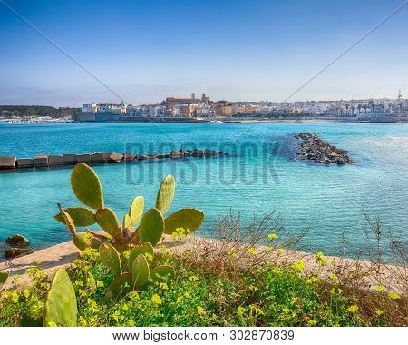 Otranto - Coastal Town In Puglia With Turquoise Sea. Italian Vacation. Town Otranto, Province Of Lec