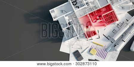 3D rendering of a mock up condo building with an apartment highlighted on top of a black surface with mortgage application form, calculator, blueprints, etc..