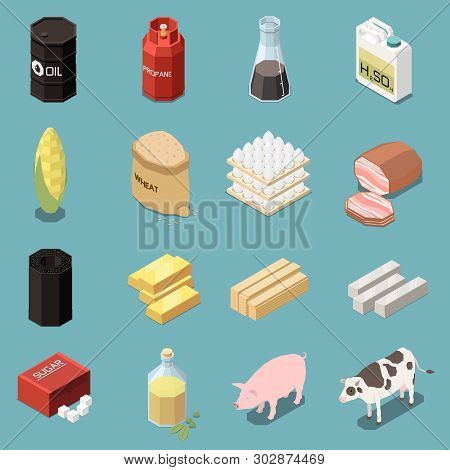 Commodity Icons Isometric Collection Of Sixteen Images With Industrial And Manufactured Goods With A