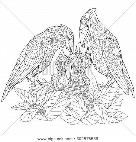 Coloring Page. Coloring Book. Anti Stress Colouring Picture With Spring Birds. Freehand Sketch Drawi