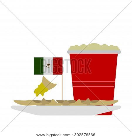 Combo Of Raviolis With A Beer In A Plastic Cup - Vector