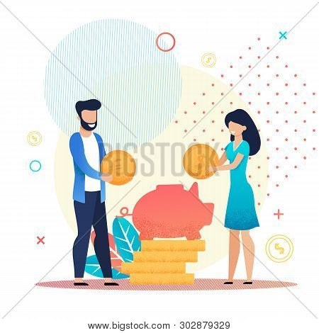 Married Couple Save Coins In Piggy Bank Metaphor Cartoon. Family Budget, Home Savings And Investment