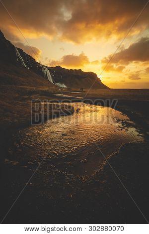Walking In A Winter Sunrise In Iceland