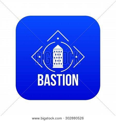 Bastion Icon Blue Vector Isolated On White Background