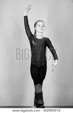 Rhythmic gymnastics sport combines elements ballet dance. Try hard. Girl little gymnast sports leotard. Physical education and gymnastics. Flexible healthy body. Future star of rhythmic gymnastics poster