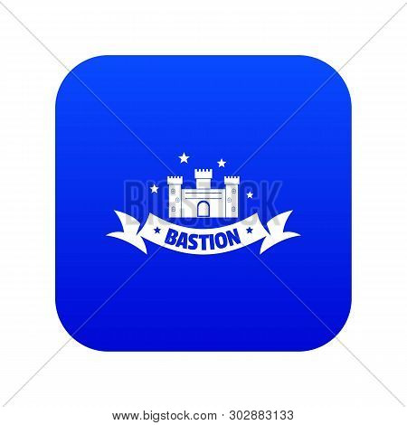 Building Bastion Icon Blue Vector Isolated On White Background