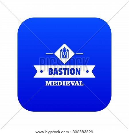 Victorian Bastion Icon Blue Vector Isolated On White Background