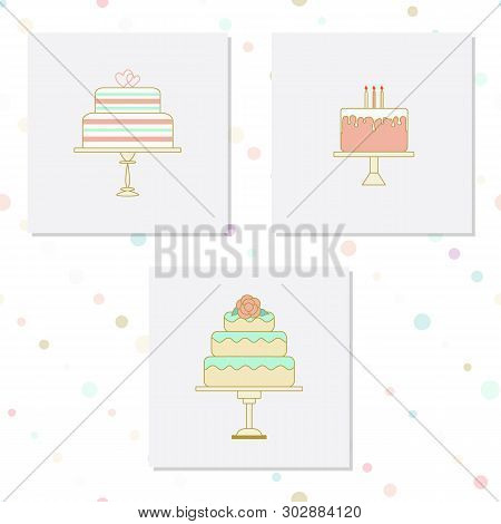 Set Of Cakes For Bakehouse And Confectionery Logos Or Icons, Invitation, Wedding And Birthday Greeti