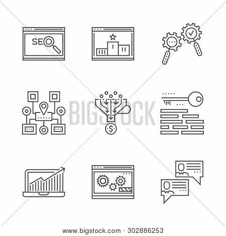 Seo Line Icons Set. Seo Related Vector Line Icon. Isolated On White Background. Social Chanels, Keyw