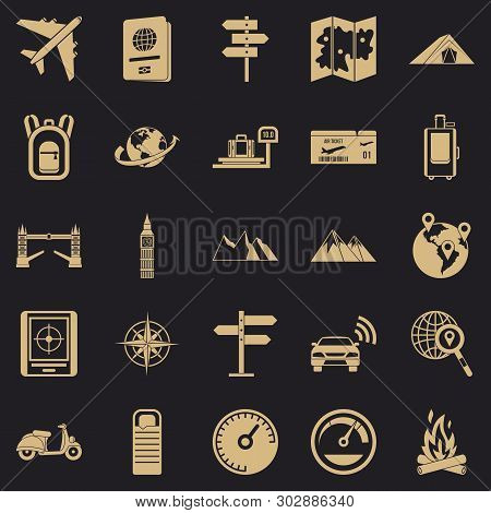 Abroad Icons Set. Simple Set Of 25 Abroad Vector Icons For Web For Any Design