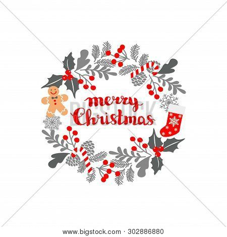 Winter Christmas Frame, Vector Illustration. Christmas Greeting Card With Wreath, Christmas Socks An