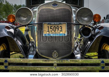 Jordan, Mn -  August 3, 2018: 1930 Ford Model A Automobile Grill And Bumper. The Model A Was Fords S