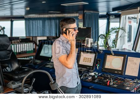 Marine Deck Officer Or Seaman On Deck Of Vessel Or Ship
