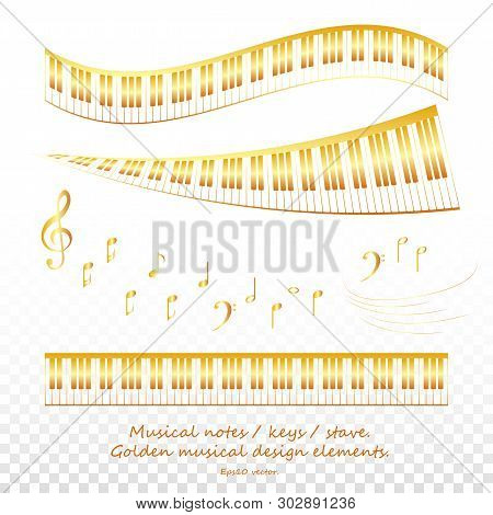 Golden Piano Keys And Musical Notes And Elements. Piano Design,  Web, Piano Art, App, Piano Backgrou