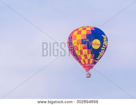 Antwerp, Belgium, April 23, 2019, Hot Air Balloon From Lindstrand Technologies Flying In The Sky, Po