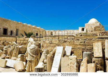 Old Ruins inside of the Borj el Kebir Castle in Houmt El Souk in Djerba, Tunisia poster