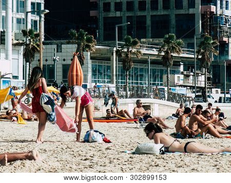 Tel Aviv Israel May 23, 2019 View Of Unknown Israeli People Having Fun On The Beach Of Tel Aviv In T
